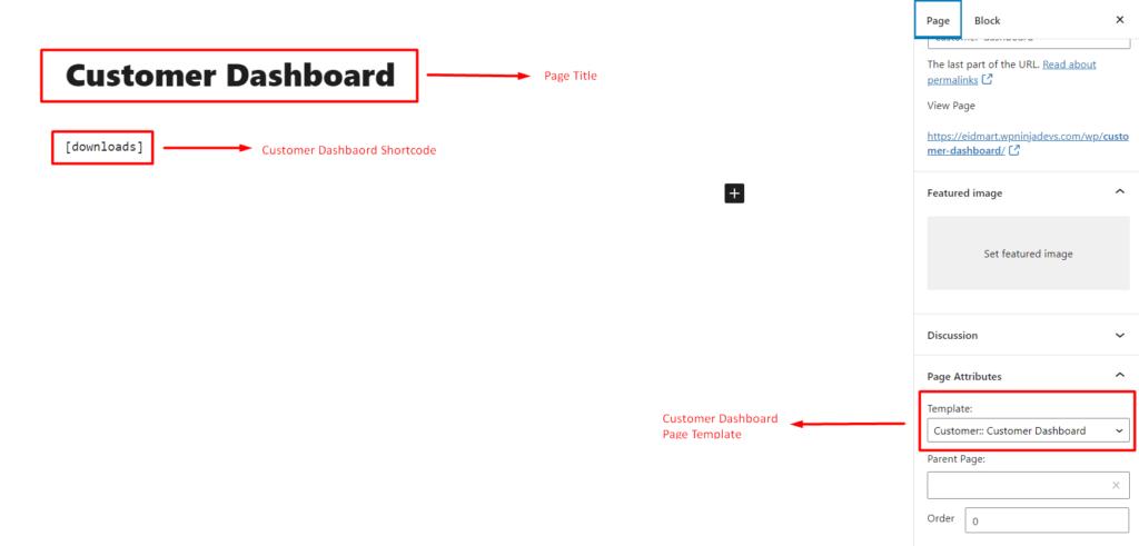 Customer dashboard screenshot