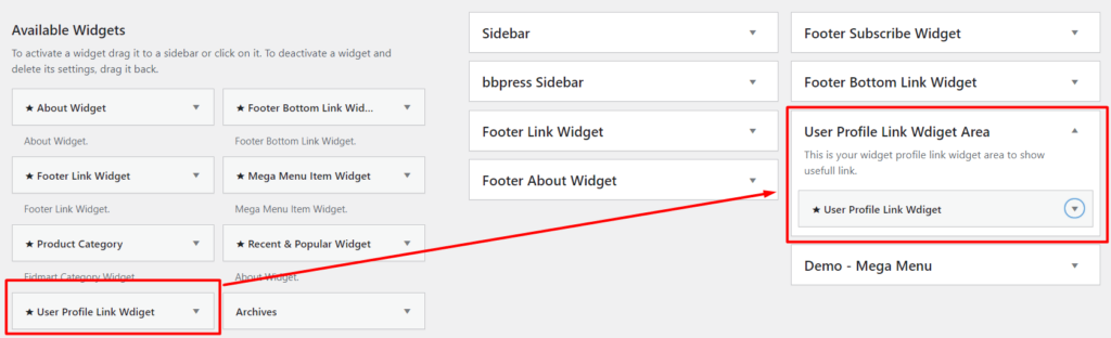 User profile dashboard link widget